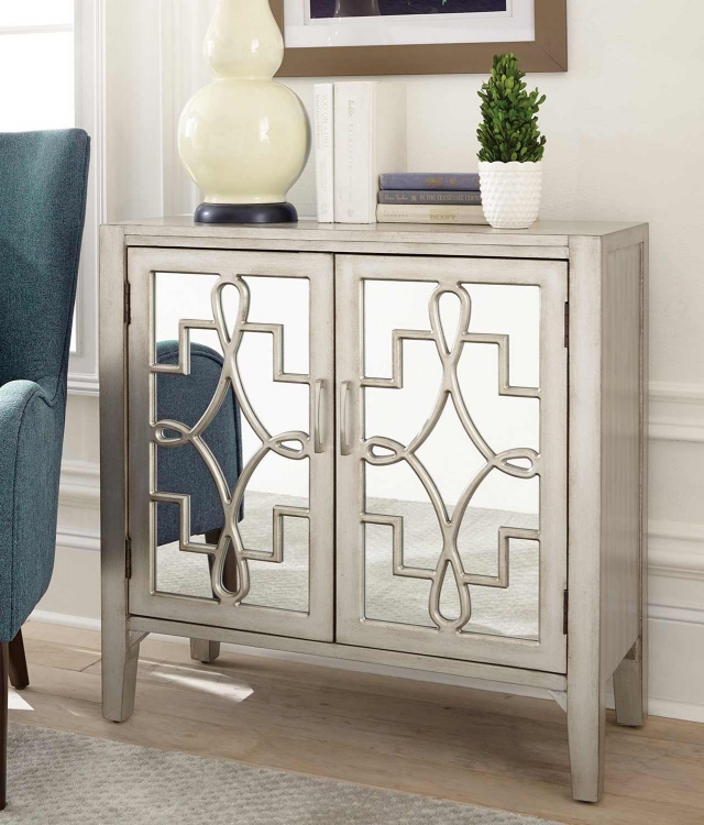 950771 Accent Cabinet - Champagne/Silver