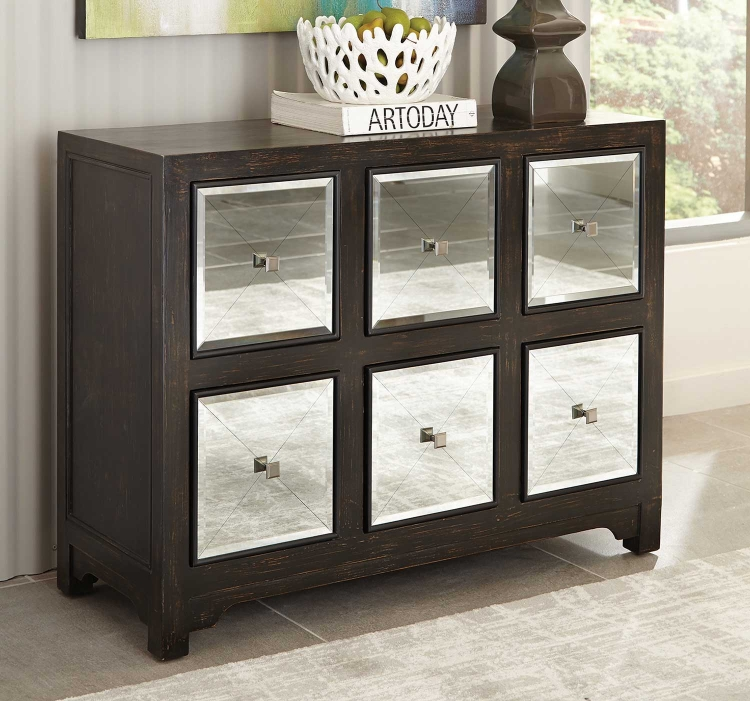 950776 Accent Cabinet - Rustic Brown/Silver