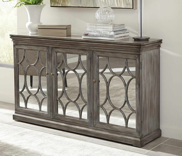 950777 Accent Cabinet - Antique Grey/Bronze