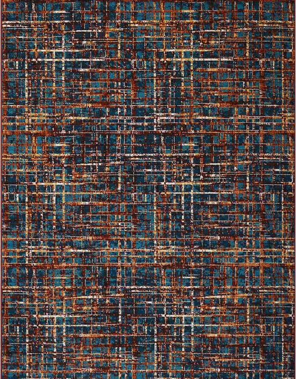 970216L Large Rug - Multi-Tonal Blue/Orange