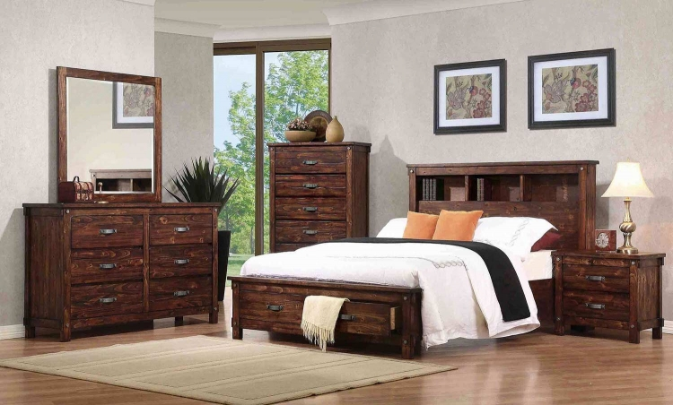 Noble Bookcase Platform Storage Bedroom Set - Rustic Oak