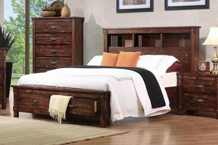 Noble Bookcase Platform Storage Bed - Rustic Oak