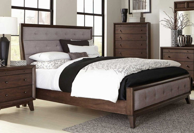 Bingham Upholstered Low Profile Bed - Brown Oak