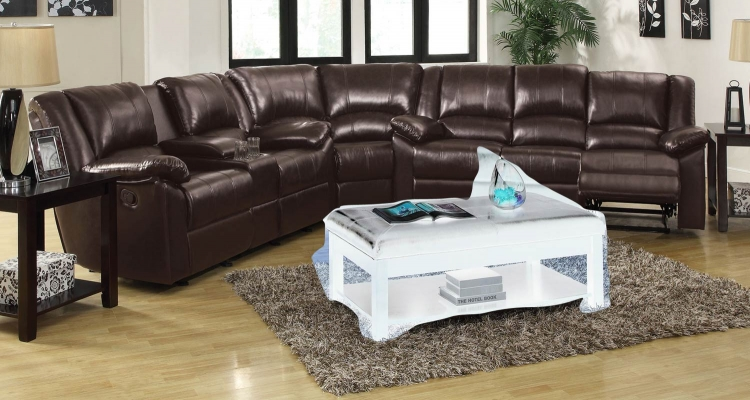 Bekah Reclining Sectional Sofa Set - Brown