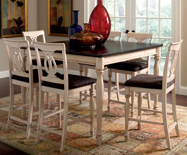 Camille Counter Height Dining Set - Antique White & Marlot