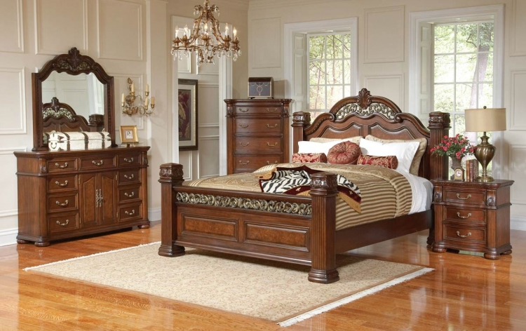 bedroom set bed dresser mirror and a nightstand esf furniture