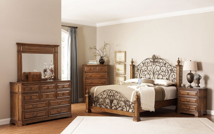 Edgewood Bedroom Set with Metal Headboard - Oak - Coaster
