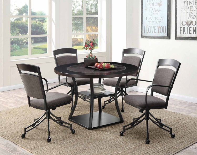 Ferdinand Round Dining Set with Casters - Dark Merlot