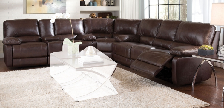 Geri Reclining Sectional Sofa Set - Brown