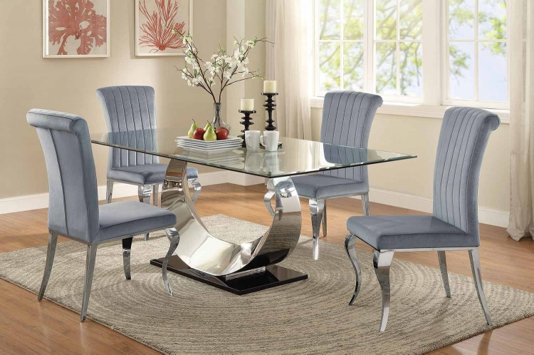 Manessier Rectangular Glass Dining Set - Chrome