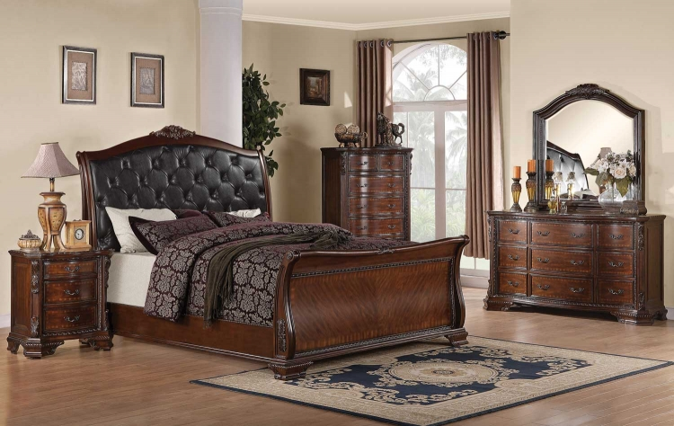 Maddison Bedroom Set - Brown Cherry