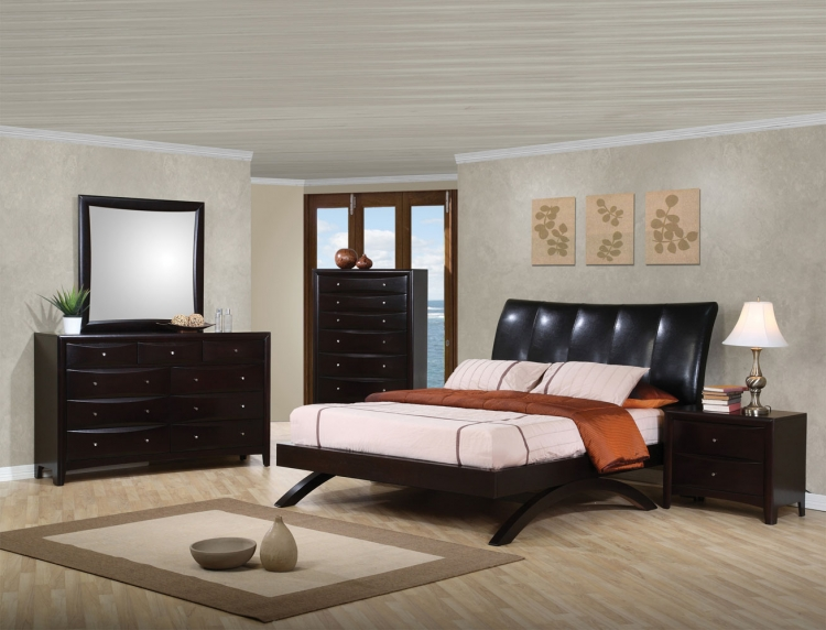 Phoenix Upholstered Bedroom Set - Deep Cappuccino