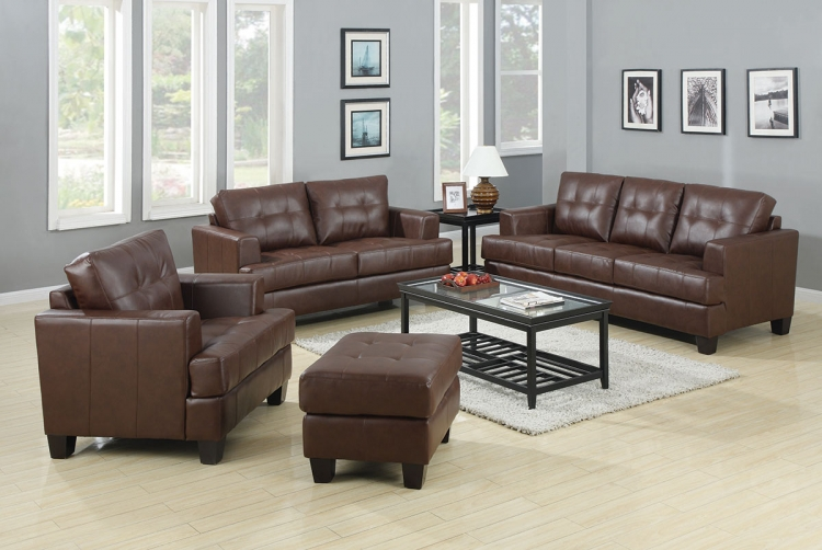 Samuel Living Room Set - Dark Brown - Coaster