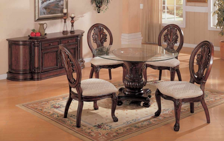Tabitha Dark Round Pedestal Dining Collection