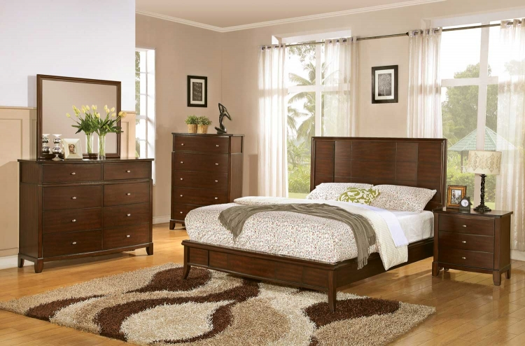Addley Low Profile Panel Bedroom Set - Dark Cherry