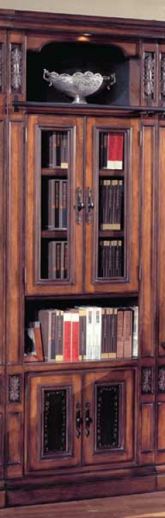 DaVinci 32in Glass Door Bookcase with wine center-Parker House