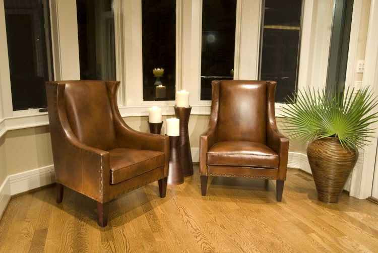 Bristol 2-Piece Set Top Grain Leather Accent Chairs - Rustic