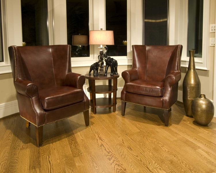 Camden 2-Piece Set Top Grain Leather Accent Chairs - Raisin