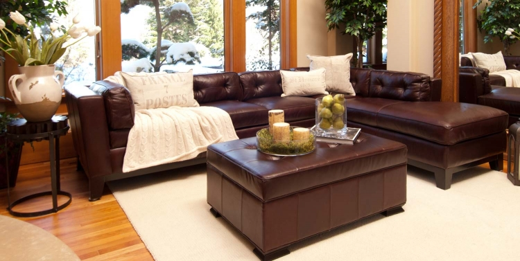 Chateau 2-Piece Top Grain Leather Sectional Collection - Mahogany