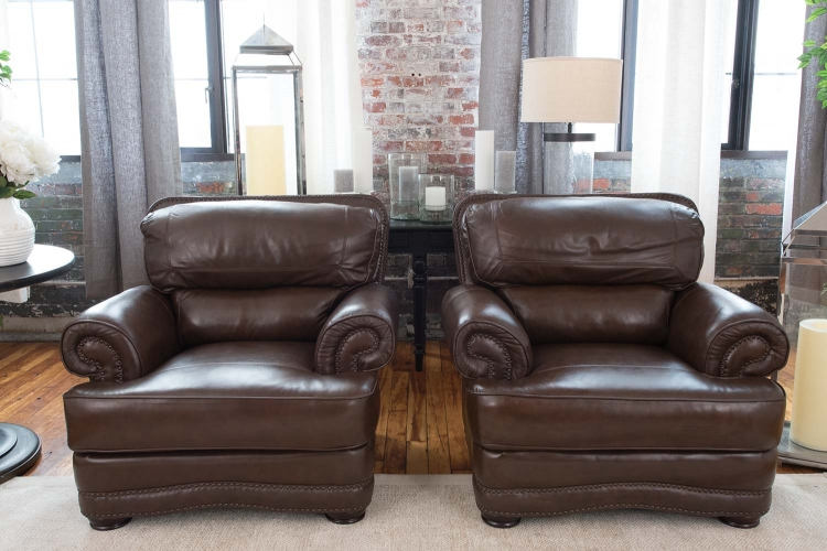 Charleston 2-Piece Top Grain Leather Chair Set