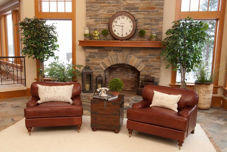 Cambridge 2-Piece Set Top Grain Leather Chairs - Acorn