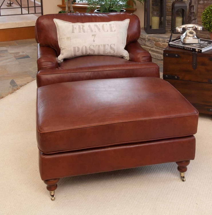 Cambridge 2-Piece Set Top Grain Leather Chair and Ottoman - Acorn