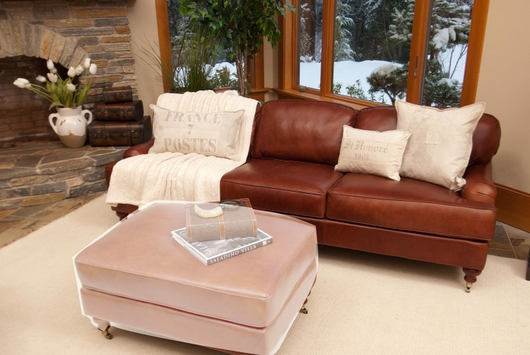 Cambridge Top Grain Leather Sofa - Acorn