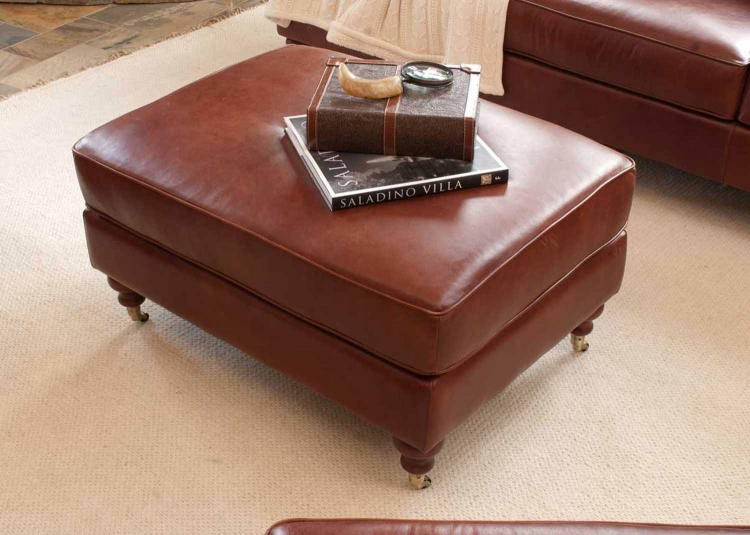 Cambridge Top Grain Leather Standard Ottoman - Acorn - ELEMENTS Fine Home Furnishings