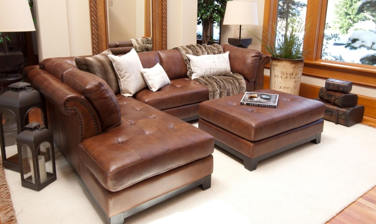 Corsario 2-Piece Top Grain Leather Sectional Collection - Bourbon