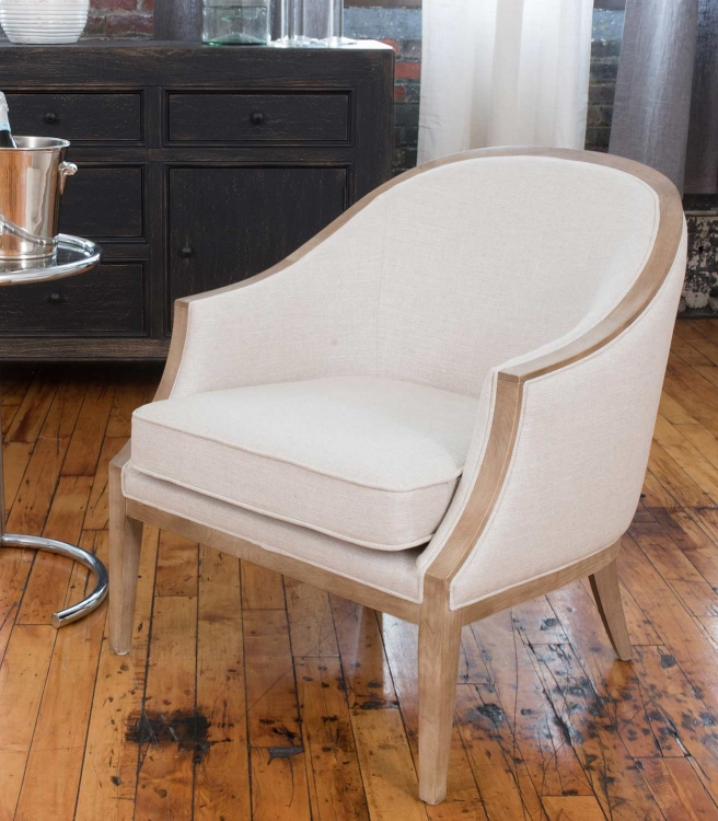 Crescent Fabric Standard Chair - Natural Wood Finish