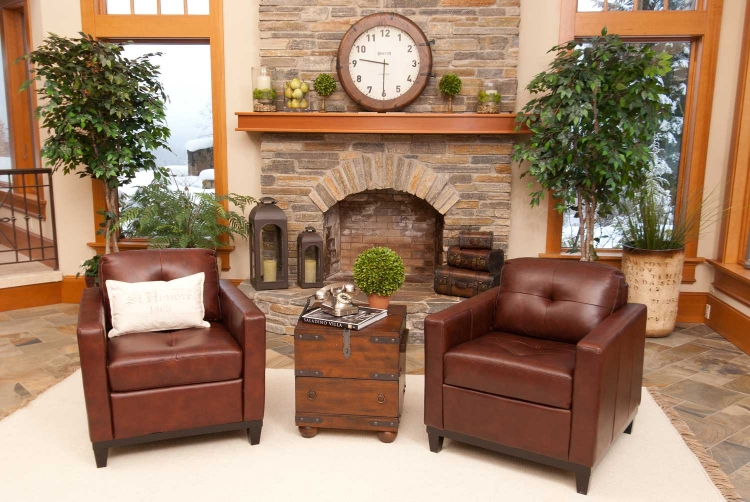 Carlton 2-Piece Set Top Grain Leather Accent Chairs - Raisin - ELEMENTS Fine Home Furnishings