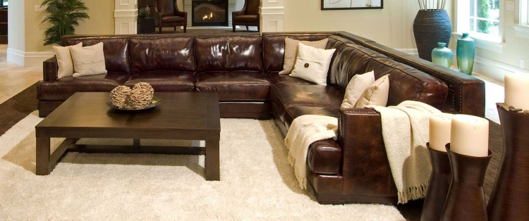 Easton Top Grain Leather Sectional Sofa - Saddle - ELEMENTS Fine Home Furnishings
