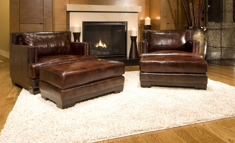 Emerson 2-Piece Set Top Grain Leather Accent Chairs - Saddle