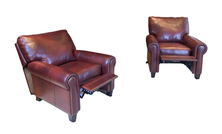 Garret 2-Piece Set Top Grain Leather Reclining Chairs - Sienna - ELEMENTS Fine Home Furnishings