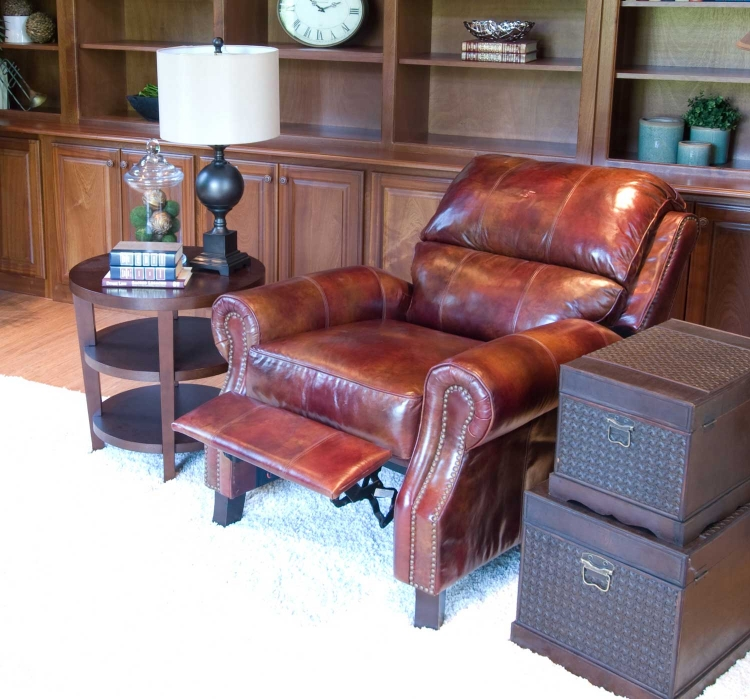 Hemingway Top Grain Leather Reclining Chairs - Redwood - ELEMENTS Fine Home Furnishings