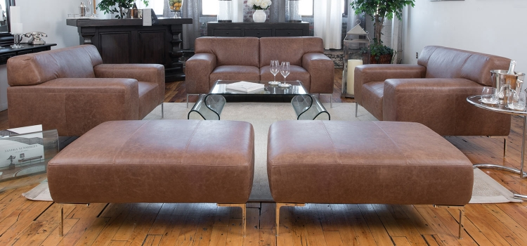 Industrial 5-Piece Set Including Loveseat, 2 Chairs and Ottomans - Chestnut