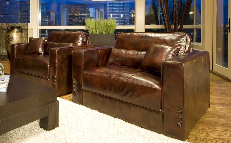 Laguna 2-Piece Set Top Grain Leather Accent Chairs - Saddle