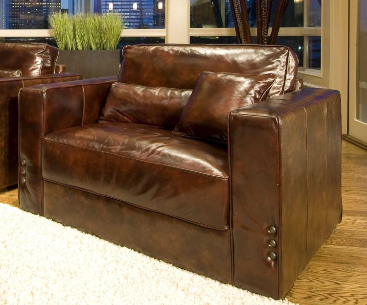 Laguna Top Grain Leather Accent Chair - Saddle