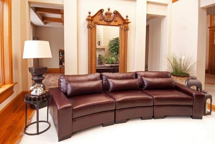 Loft Top Grain Leather Sectional Sofa - Sable - Elements Fine Home Furnishings