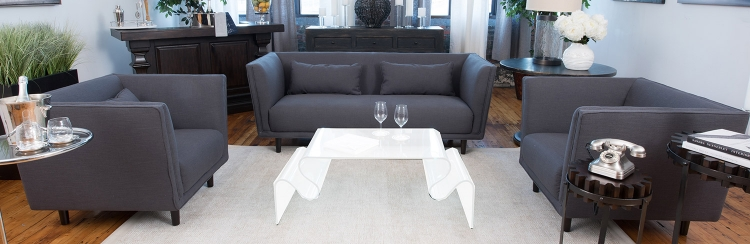 Manhattan 3-Piece Set Including Sofa and 2 Standard Chairs - Concrete