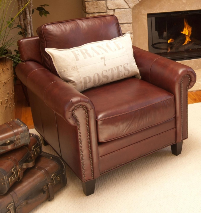 Manchester Top Grain Leather Accent Chair - Barolo