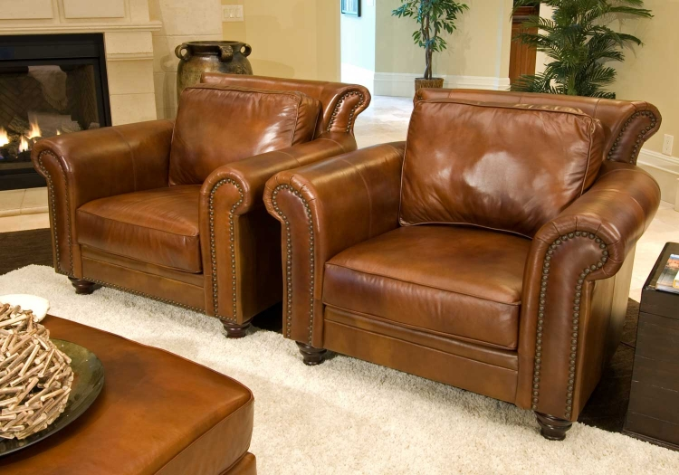 Paladia 2-Piece Set Top Grain Leather Accent Chairs - Rustic