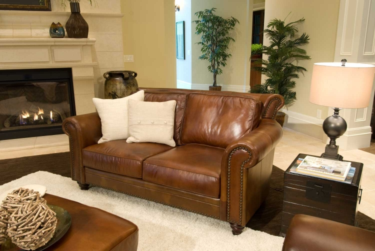 Paladia Top Grain Leather Loveseat - Rustic - ELEMENTS Fine Home Furnishings