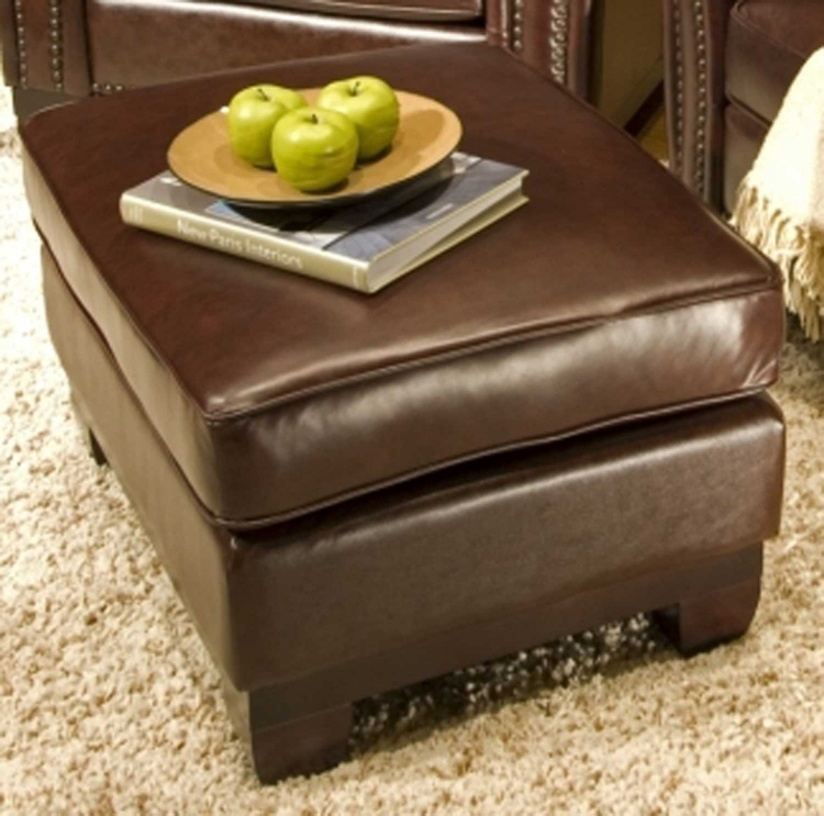 Serafina Top Grain Leather Standard Ottoman - Clove - ELEMENTS Fine Home Furnishings
