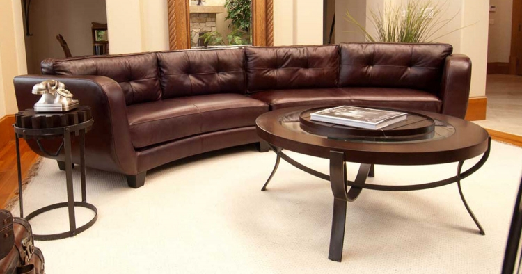 Vittorio Top Grain Leather Sectional Sofa - Mahogany - ELEMENTS Fine Home Furnishings
