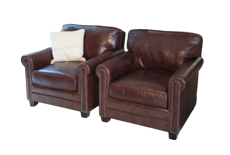 Winslow 2-Piece Set Top Grain Leather Accent Chairs - Raisin - ELEMENTS Fine Home Furnishings