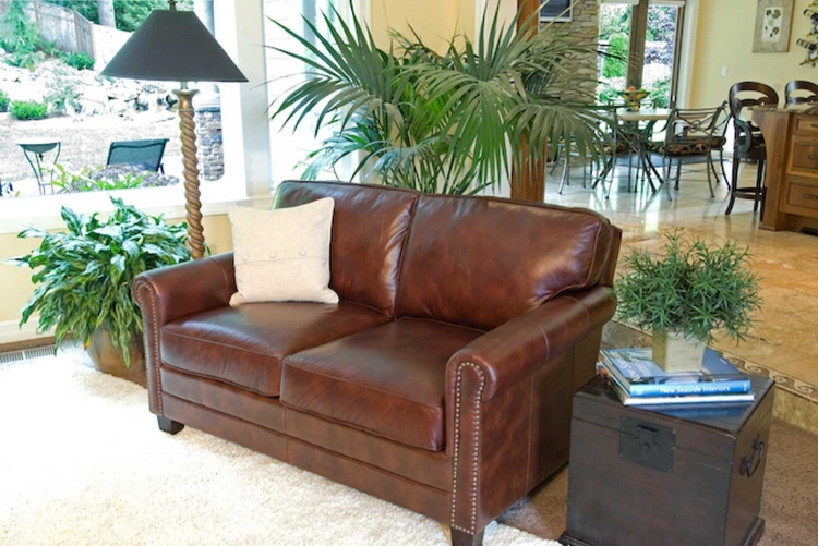 Winslow Top Grain Leather Loveseat - Raisin - ELEMENTS Fine Home Furnishings