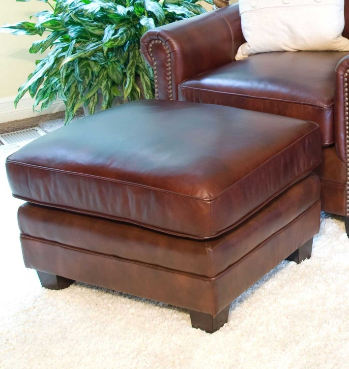 Winslow Top Grain Leather Standard Ottoman - Raisin - ELEMENTS Fine Home Furnishings