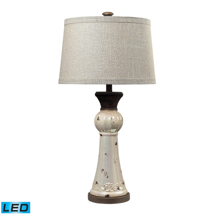 113-1127-LED Lorraine Table Lamp - Distressed Pearlescent with Rust