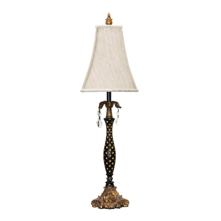 91-193 Black with Polka Dots Table Lamp - Gold Leaf / Black